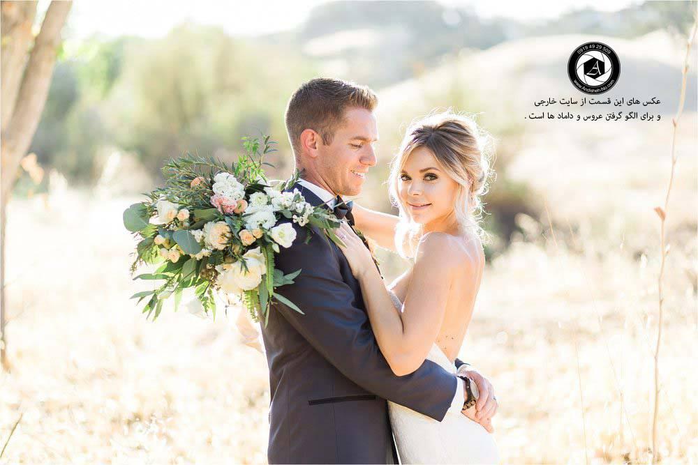 نمونه عکس عکاسی دسته گل عروس تاج عروسی با گل جیب داماد