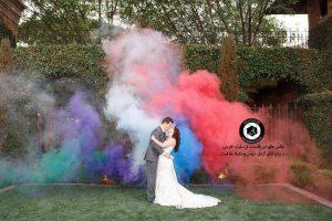 colorful smoke in the wedding photo 11 300x200 - خرید لباس عروس انتخاب آتلیه عکاسی و آرایشگاه عروس